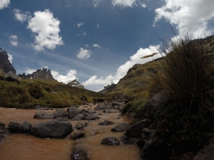A pink mineral stream in Huascaran NP
