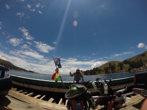 On the ferry crossing Titicaca in Bolivia