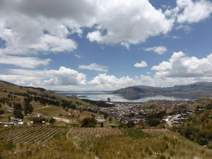 Our first view of Titicaca on the Peru side. Our camera is so good it hides the algae and all the garbage