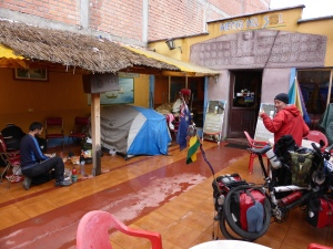Undercover camping at a restaurant in Copacabana Bolivia. Thanks Andre for sheltering us from the storm