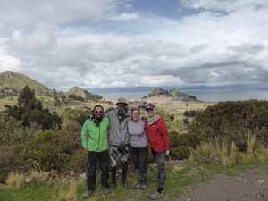 With Brits Claire & Adam in Bolivia, Titicaca in the background