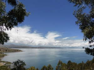 Lake Titicaca Bolivia with snowy peaks in the background.