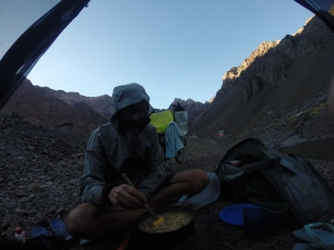 Our last wild camping, on the other side of the tunnel kinds in Limbo between Argentina & Chile