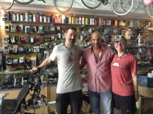 With bike store owner 'Santiago; in Chile. He wanted to replace everything but we had to convince him it would last another 2000km to Chile