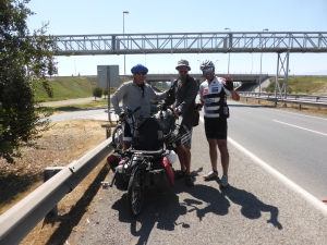 Meeting Alvaro the Bici clown on our final 20kms into Santiago