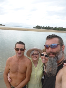 Walking down the beach in Noosa with Brens mum & brother