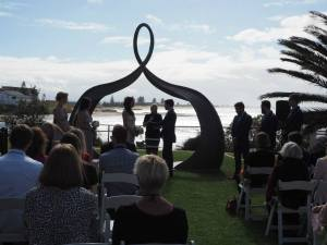 The ceremony by the beach