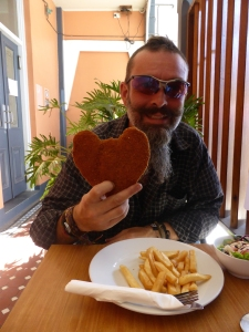 A heart shaped snitzel for a man with a giant heart
