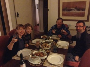 Enjoying home cooked dinner with my sister, nephew and brother-in-law