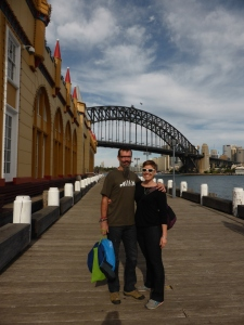 Sydney Harbor with the bridge and opera house in the background