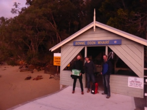 At Bonny Doon wharf with friends from my uni days - Ben & Matt